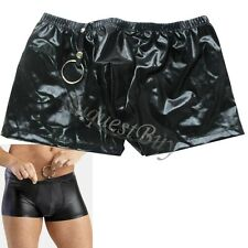 Mens' Sexy Low Rise Boxer Brief Stretchy PU Leather Underwear Short Panty Black