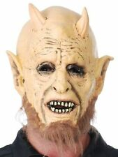 New Adult Satan Devil Lord Costume Halloween Mask with Horns + Beard