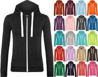 New Womens Hooded Zip Long Sleeve Pocket Stretch Plain Ladies Hoodie Top 8 - 14