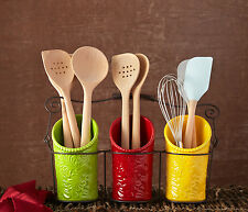 Kitchen Utensil Holders - Set of 3 with Wire Caddy for Easy Carrying to Your ...