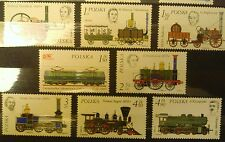 POLAND-STAMPS MNH Fi2280-87 Sc2143-50 Mi2427-34 -Locomotive History-1976,clean