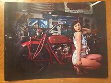 Tin Sign Vintage Metal Pin Up Girl Indian Motorcycles