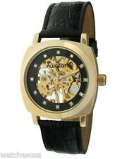 Peugeot Men's Gold-tone Black Leather Mechanical Skeleton Watch 1022G