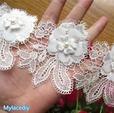 5pcs Ribbon Applique White Flowers Pearl Lace Edge Trim Sewing Craft Wedding DIY