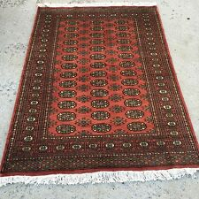 4 X 6 Fine Hand knotted oriental rug Rose 100% Wool Pile Bokhara Design.