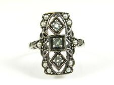 .25ctw Natural Aquamarine and Seed Pearl Victorian Deco Sterling Filigree Ring 7