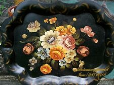 ANTIQUE VINTAGE LARGE BLACK TOLE TIN TRAY HAND PAINTED FLOWERS  FLORAL