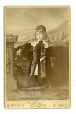 B0127~ Adorable Girl Hat & Fur by Wilcox Chicago IL Cabinet Card