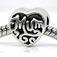 Mum Charm Mother Mummy Mom Family Heart Charms Bead For Silver Charm Bracelets