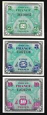 France -  WWII - Allied Military Currency (AMC)  2, 5, & 10 Franc Notes - 1944
