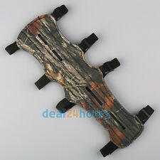 Archery Arm Guard 4 Straps Safe Protector Gear Camo Leather For Shooting Hunting