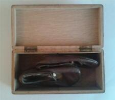 A PAIR OF VERY SMALL VICTORIAN CHILDS LEATHER SHOES IN A WOODEN BOX