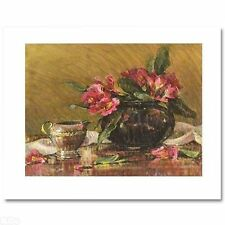 Jan Saia Pink Rhododendrons LE H/Embellished Canvas NR