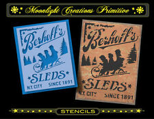Primitive Stencil~Vintage~BERHOFF'S SLEDS~Classic Old Fashion Winter Sled Ad
