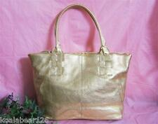 Barr & Barr Mettalic Gold Pebbled Leather Tote Handbag New with Tag