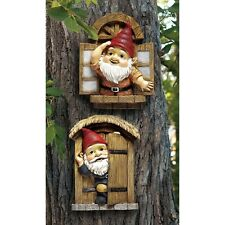 Knothole Gnomes Garden Welcome Tree Sculpture Statue Lawn Yard Decor Outdoor