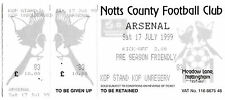 Football Ticket NOTTS COUNTY v ARSENAL July 1999 Pre-Season Friendly