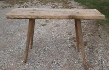 """Antique Hand Made Butcher Bench Table Mortised Splayed Legs 48""""x15""""x29 1/2"""" Tall"""