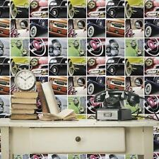 DEBONA VINTAGE AUTO CLASSIC CARS PHOTO COLLAGE PATTERN WALLPAPER ROLL