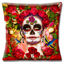 "Retro Mexican Sugar Skull Day of the Dead Girl Flowers 16"" Pillow Cushion Cover"