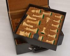 "Coffer Storage box with double tray fixed slots for 3.75"" - 4.0"" Chess Set S1259"