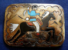 NAVAJO BB STERLING Silver MULTI STONE Inlay Mans Vintage HORSE n RIDER BUCKLE