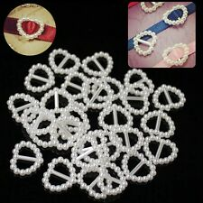24pcs Pearl Heart Ribbon Buckle Slider Wedding Invitation Crafts Embellishments