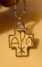 Handsome Small White Enamel Chi Rho Cross Alpha Omega Silvertn Pendant Necklace