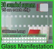 30 Pegatinas de efecto redondeadas Sq grabado vidrio de seguridad película De Vinilo Esmerilado manifestación