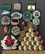 Vintage COLD WAR Russia Russian Civil Pin Medal Army CCCP Coin Collection Lot us