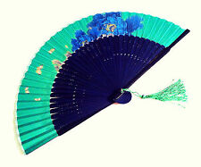 Chinese Silk Hand Fan Handfan Hold Fan in Blue Peony Flower on Green Fabric