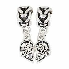 Silver Aunt Niece Two Piece Heart Pendant Charms Bead For Charm Bracelets