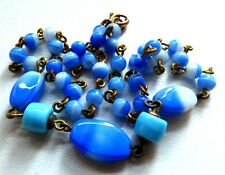 Vintage Art Deco 1920s Venetian / Czech Glass Bead Necklace, Blue, white, green