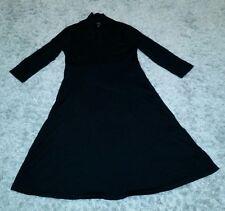 *Flaws* Eileen Fisher Black L/S V-Neck Wool Dress Full Length Womens L Lagenlook