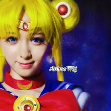 Anime Sailor Moon Princess Usagi Tsukino Yellow Hair Women Cosplay Wig+Ponytails