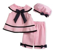 Rare Editions Baby Girls' 3-Piece Pink Dress, Capri & Hat Set,Pink , Size 18 M