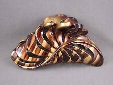 "Brown Gold Tie Dye plastic 4.75"" long barrette Big Huge hair clip claw clamp"