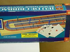 """Castle Classics Deluxe Solid Wood CRIBBAGE BOARD w. Cards & Pegs 14 1/2"""" Long:"""