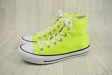 Ladies Converse All Star Neon Yellow Hi Top Trainers Size UK 6