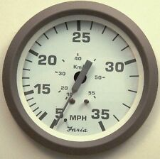 New Faria Nantucket 35 MPH Boat Speedometer Gauge Speedo Pitot Type White Gray