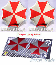 Pair (2 pcs) Polished Chrome Umbrella Corporation Car Sticker Decal Red & Silver