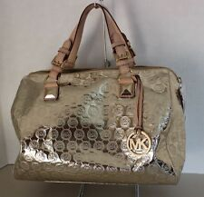 "Large MICHAEL KORS ""Grayson"" Large Pale Gold Monogram Satchel EUC $398.00"