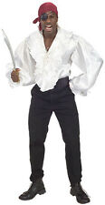 Adult White Satin Pirate Shirt Swashbuckler Renaissance Adult Size XLarge