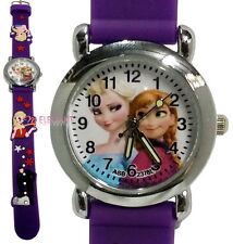 Disney Frozen Elsa & Anna Children Girls Kids Child 3D Quartz Wrist Watch PURPLE