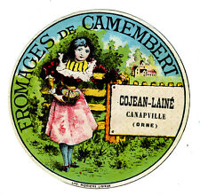 ÉTIQUETTE ANCIENNE FROMAGE DE CAMEMBERT, COJEAN-LAINE, CANAPVILLE ORNE