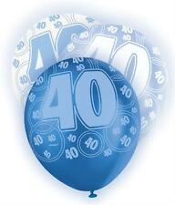 Blue Glitz 40th Birthday Age 40 Pack 6 Latex Party Balloons Suit Air Or Helium