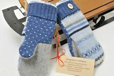 Sweater Mittens Felted Angora & Wool Fleece Lined USA Baby Blue