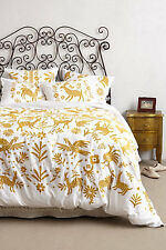 Anthropologie LUISA EMBROIDERED Duvet Cover Queen White Gold NWOT