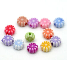 100 Mixed Acrylic Flower Shaped  Spacer Beads 6mm Jewellery, Crafts  Free P&P