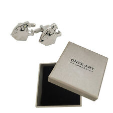 Mens Silver Siberian Tiger Head Cufflinks & Gift Box By Onyx Art